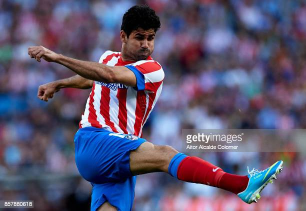 Diego Costa of Atletico de Madrid in action during the La Liga between Atletico de Madrid vs FC Barcelona at Estadio Vicente Calderon on May 12 2013...