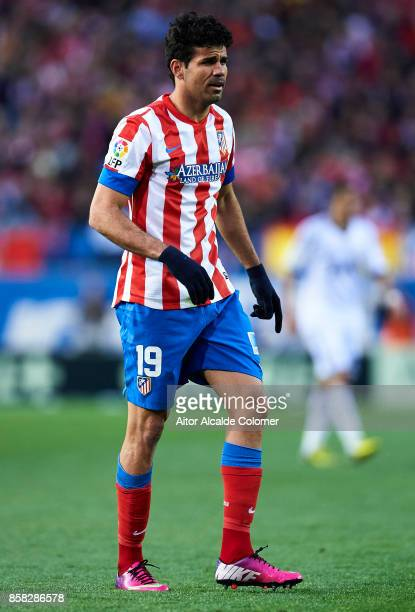 Diego Costa of Atletico de Madrid in action during the La Liga between Atletico de Madrid and Real Madrid at Estadio Vicente Calderon on April 27...