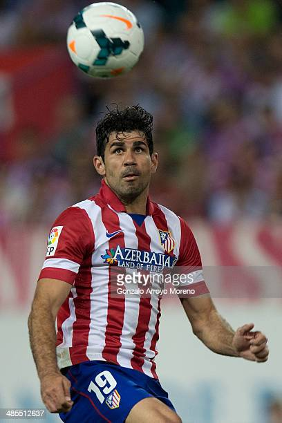 Diego Costa of Atletico de Madrid in action during the La Liga match between Club Atletico de Madrid and Elche FC at Vicente Calderon Stadium on...