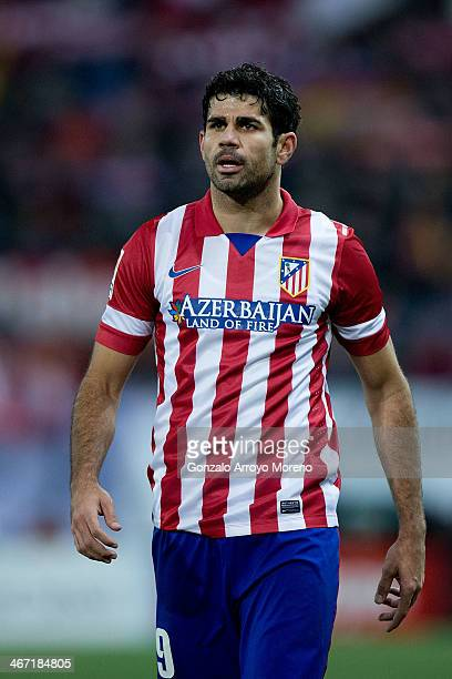 Diego Costa of Atletico de Madrid looks on during the La Liga match between Club Atletico de Madrid and Real Sociedad de Futbol at Vicente Calderon...