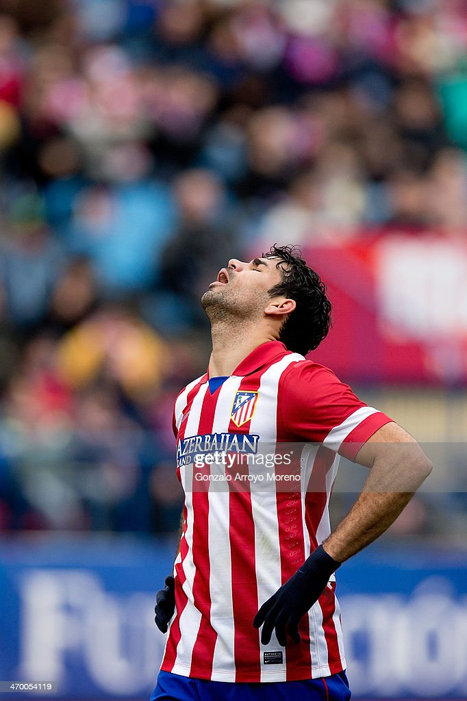 Diego Costa of Atletico de Madrid reacts as he fail to score during the La Liga match between Club Atletico de Madrid and Real Valladolid CF at Vicente Calderon Stadium on February 15, 2014 in Madrid, Spain.