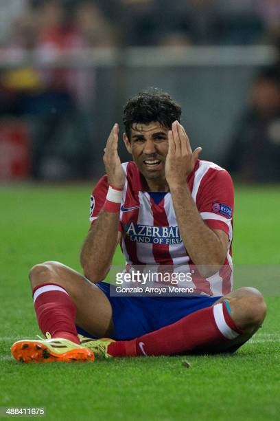 Diego Costa of Atletico de Madrid reacts as he fail to score during the UEFA Champions League Semi Final first leg match between Club Atletico de...