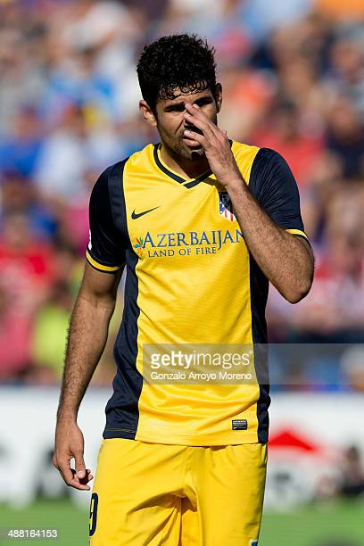 Diego Costa of Atletico de Madrid reacts as his team fails to score during the La Liga match between Levante UD and Club Atletico de Madrid at Ciutat...