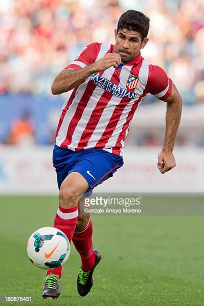 Diego Costa of Atletico de Madrid runs for the ball during the La Liga match between Club Atletico de Madrid and UD Almeria at Vicente Calderon...