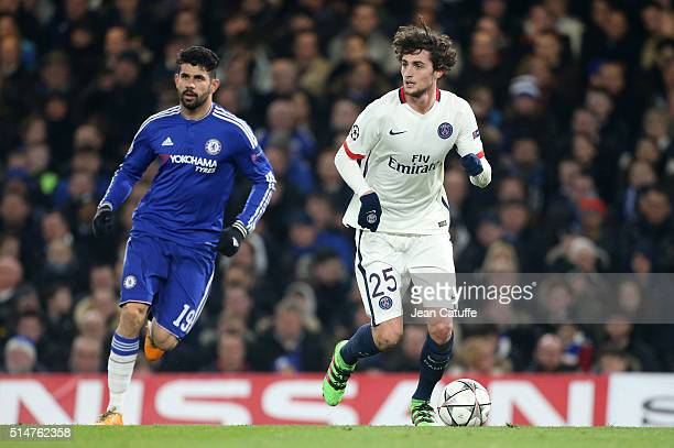Diego Costa of Chelsea and Adrien Rabiot of PSG in action during the UEFA Champions League round of 16 second leg match between Chelsea FC and Paris...