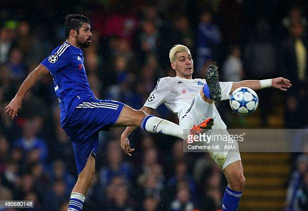 Diego Costa of Chelsea and Aleksandar Dragovic of Dynamo Kiev during the UEFA Champions League Group G match between Chelsea and Dynamo Kyiv at...