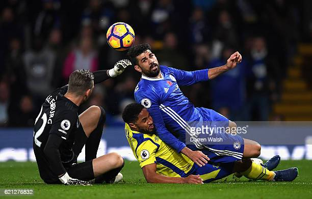 Diego Costa of Chelsea and Ashley Williams of Everton colide during the Premier League match between Chelsea and Everton at Stamford Bridge on...