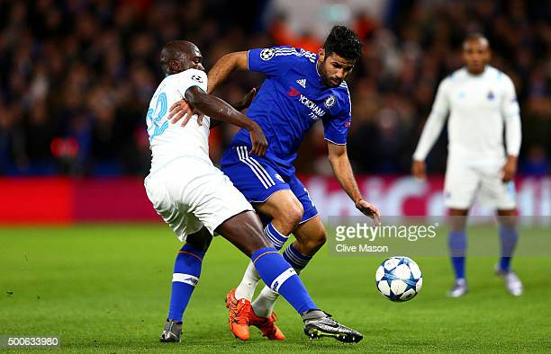Diego Costa of Chelsea and Danilo Pereira of FC Porto during the UEFA Champions League Group G match between Chelsea FC and FC Porto at Stamford...