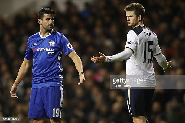 Diego Costa of Chelsea and Eric Dier of Tottenham Hotspur exchange wrords during the Premier League match between Tottenham Hotspur and Chelsea at...