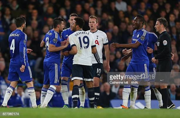 Diego Costa of Chelsea and Mousa Dembele of Tottenham Hotspur clash during the Barclays Premier League match between Chelsea and Tottenham Hotspur at...