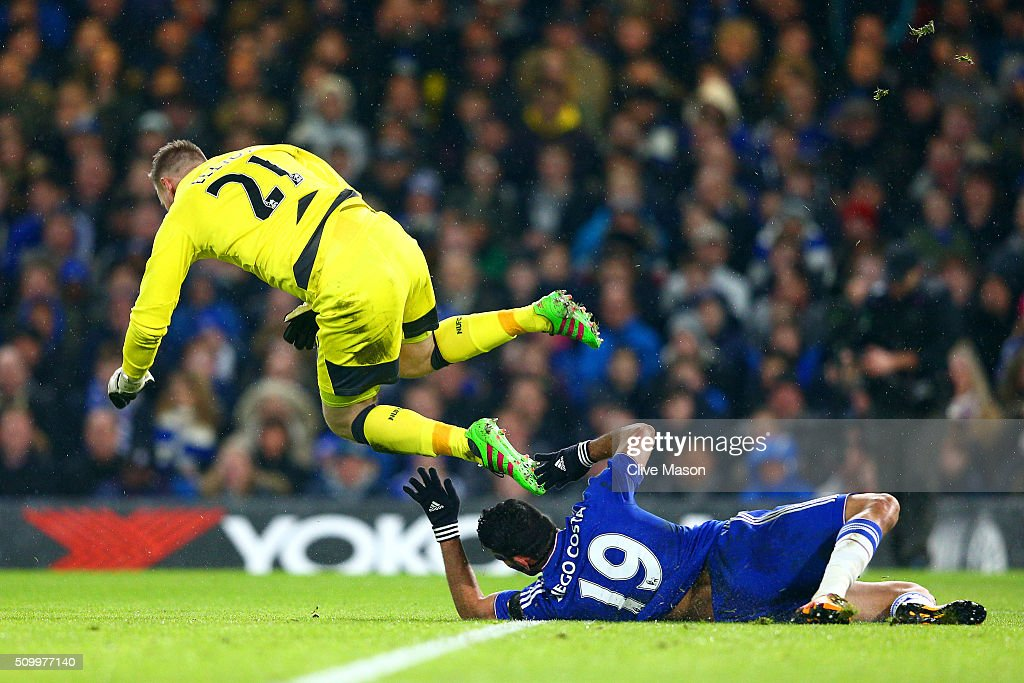 Diego Costa of Chelsea and Robert Elliot of Newcastle United collide during the Barclays Premier League match between Chelsea and Newcastle United at Stamford Bridge on February 13, 2016 in London, England.
