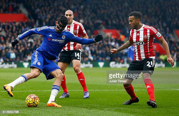 Diego Costa of Chelsea and Ryan Bertrand of Southampton compete for the ball during the Barclays Premier League match between Southampton and Chelsea...
