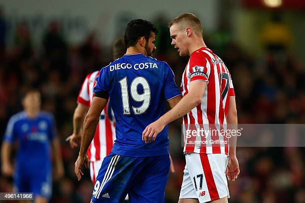Diego Costa of Chelsea and Ryan Shawcross of Stoke City argue during the Barclays Premier League match between Stoke City and Chelsea at Britannia...