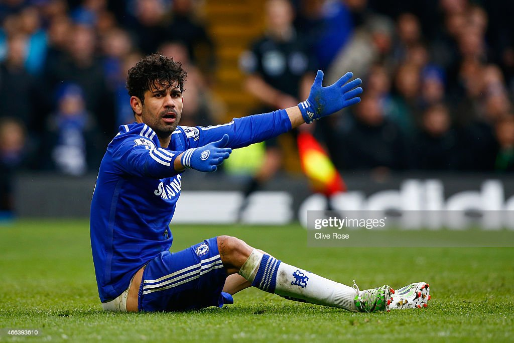 Diego Costa of Chelsea appeals after going down in the area during the Barclays Premier League match between Chelsea and Southampton at Stamford Bridge on March 15, 2015 in London, England.