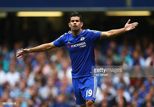 Diego Costa of Chelsea appeals during the Barclays Premier League match between Chelsea and Crystal Palace at Stamford Bridge on August 29 2015 in...