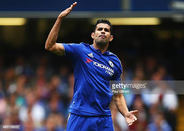Diego Costa of Chelsea appeals to a linesman during the Barclays Premier League match between Chelsea and Crystal Palace at Stamford Bridge on August...