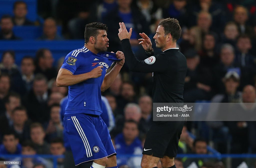 Diego Costa of Chelsea appeals to referee Mark Clattenburg after having his shirt pulled during the Barclays Premier League match between Chelsea and Tottenham Hotspur at Stamford Bridge on May 2, 2016 in London, England.