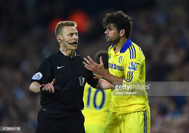 Diego Costa of Chelsea appeals to referee Mike Jones during the Barclays Premier League match between West Bromwich Albion and Chelsea at The...