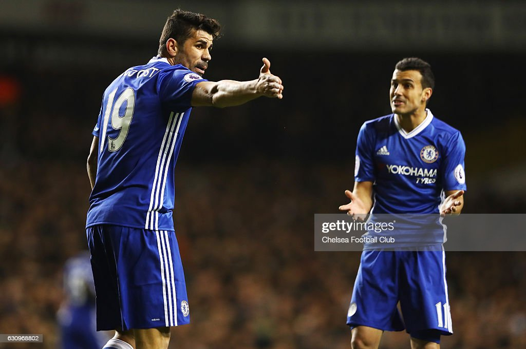 Diego Costa of Chelsea (L) argues with Pedro of Chelsea (R) during the Premier League match between Tottenham Hotspur and Chelsea at White Hart Lane on January 4, 2017 in London, England.