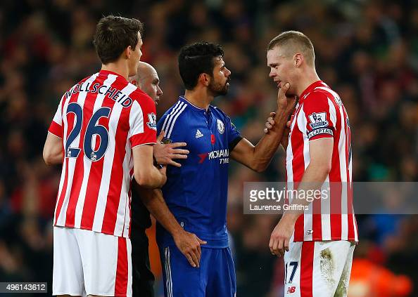 Diego Costa of Chelsea argues with Ryan Shawcross of Stoke City after the Barclays Premier League match between Stoke City and Chelsea at Britannia...