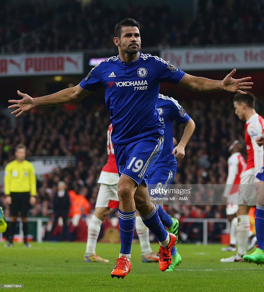 Diego Costa of Chelsea celebrates after he scores to make it 0-1 during the Barclays Premier League match between Arsenal and Chelsea at the Emirates Stadium on January 24, 2016 in London, England.