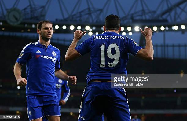 Diego Costa of Chelsea celebrates after he scores to make it 01 during the Barclays Premier League match between Arsenal and Chelsea at the Emirates...
