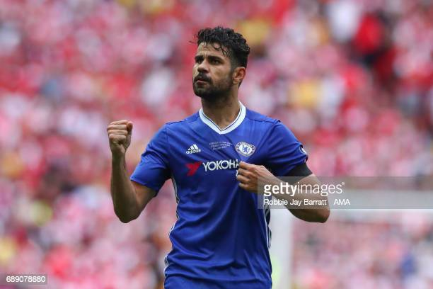 Diego Costa of Chelsea celebrates after scoring a goal to make it 11 during the Emirates FA Cup Final match between Arsenal and Chelsea at Wembley...