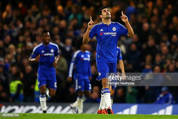 Diego Costa of Chelsea celebrates after scoring his team's second goal during the Barclays Premier League match between Chelsea and Watford at...