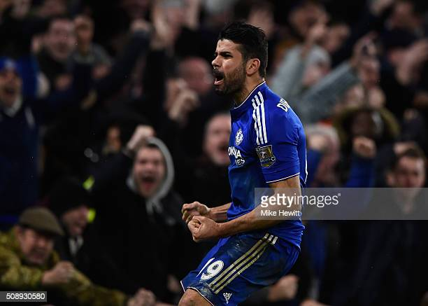 Diego Costa of Chelsea celebrates after scoring the equalising goal during the Barclays Premier League match between Chelsea and Manchester United at...