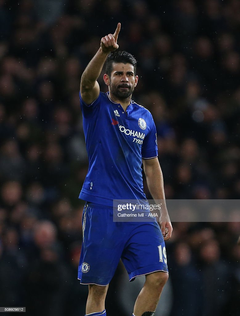 Diego Costa of Chelsea celebrates after scoring to make it 1-1 during the Barclays Premier League match between Chelsea and Manchester United at Stamford Bridge on February 7, 2016 in London, England.