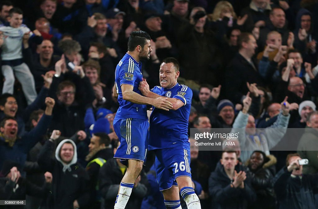 Diego Costa of Chelsea celebrates after scoring to make it 1-1 with John Terry of Chelsea during the Barclays Premier League match between Chelsea and Manchester United at Stamford Bridge on February 7, 2016 in London, England.