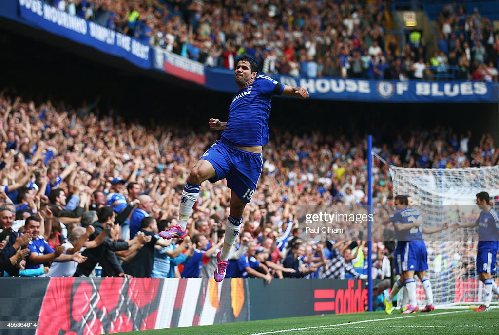 Diego Costa of Chelsea celebrates as he scores their second goal during the Barclays Premier League match between Chelsea and Swansea City at...