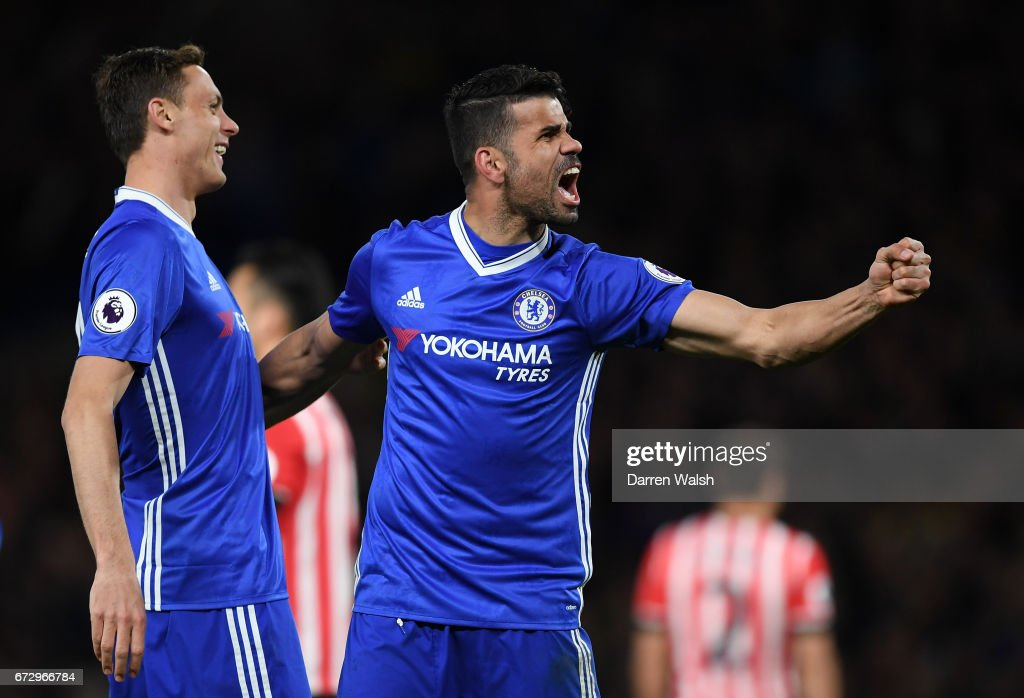 Diego Costa of Chelsea (R) celebrates as he scores their third goal with team mate Nemanja Matic during the Premier League match between Chelsea and Southampton at Stamford Bridge on April 25, 2017 in London, England.