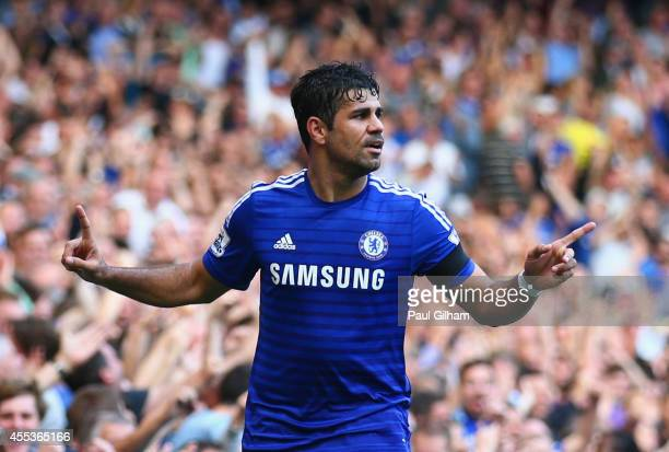 Diego Costa of Chelsea celebrates as scores his and his team's third goal during the Barclays Premier League match between Chelsea and Swansea City...