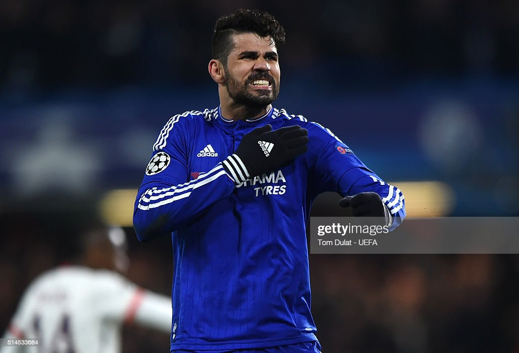 Diego Costa of Chelsea celebrates his goal during the UEFA Champions League round of 16 second leg match between Chelsea FC and Paris Saint-Germain at Stamford Bridge on March 9, 2016 in London, United Kingdom.