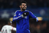 Diego Costa of Chelsea celebrates his goal during the UEFA Champions League round of 16 second leg match between Chelsea FC and Paris SaintGermain at...