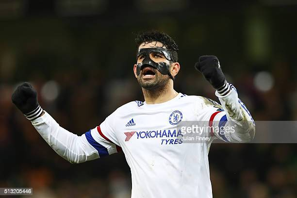 Diego Costa of Chelsea celebrates his team's 21 win in the Barclays Premier League match between Norwich City and Chelsea at Carrow Road on March 1...