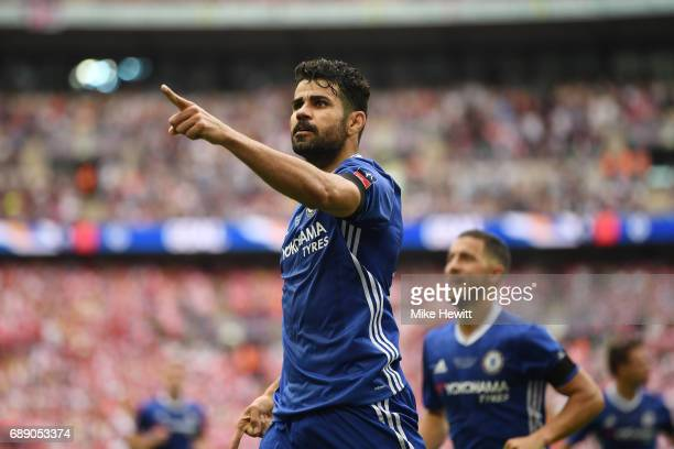 Diego Costa of Chelsea celebrates scoring his sides first goal during the Emirates FA Cup Final between Arsenal and Chelsea at Wembley Stadium on May...