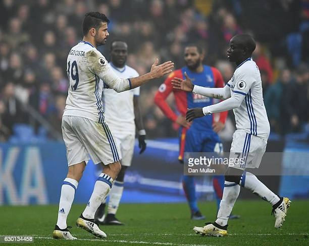Diego Costa of Chelsea celebrates scoring his sides first goal with N'Golo Kante of Chelsea during the Premier League match between Crystal Palace...