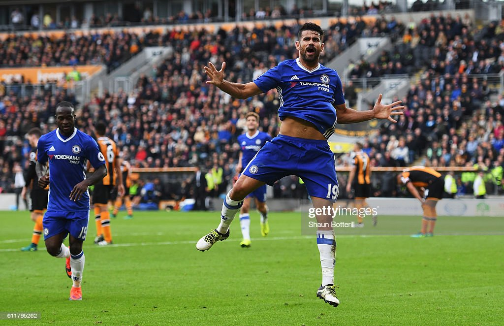 Diego Costa of Chelsea celebrates scoring his sides second goal during the Premier League match between Hull City and Chelsea at KCOM Stadium on October 1, 2016 in Hull, England.