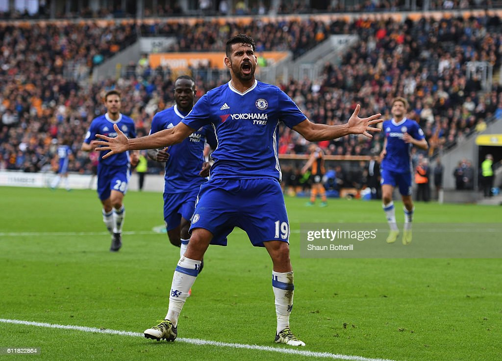 Diego Costa of Chelsea celebrates scoring his sides second goal during the Premier League match between Hull City and Chelsea at KC Stadium on October 1, 2016 in Hull, England.