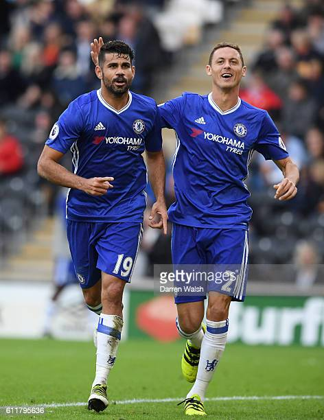 Diego Costa of Chelsea celebrates scoring his sides second goal with team mate Nemanja Matic of Chelsea during the Premier League match between Hull...