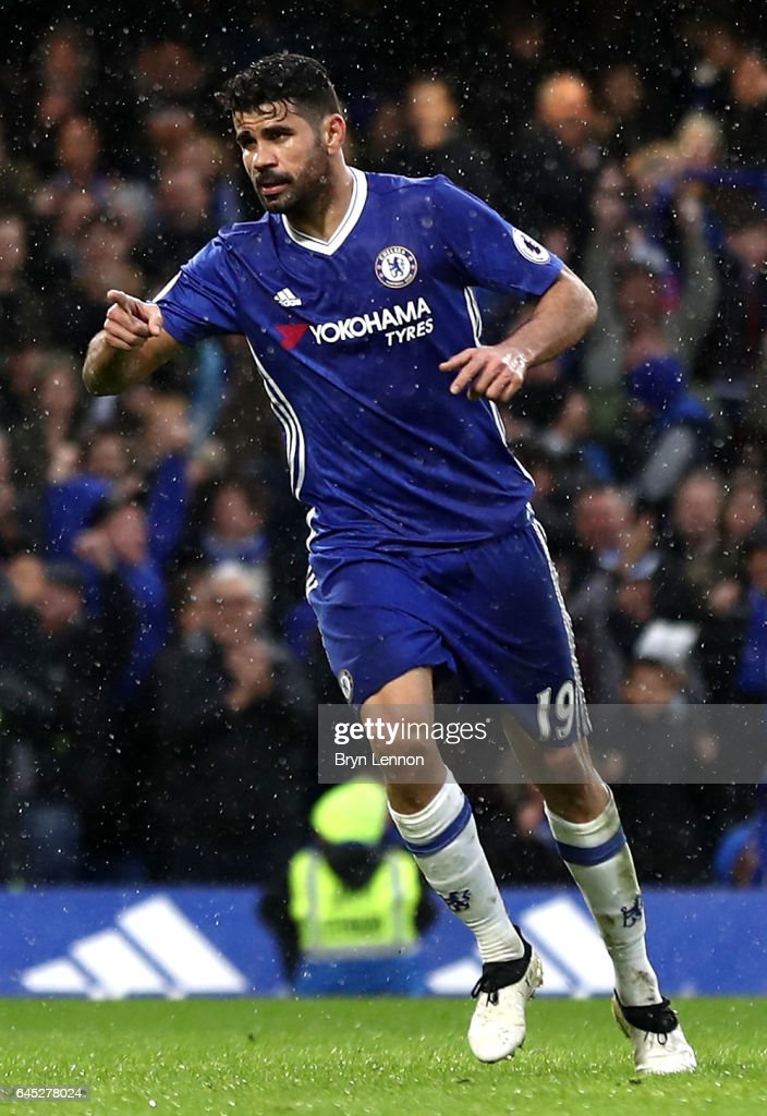 Diego Costa of Chelsea celebrates scoring his sides third goal during the Premier League match between Chelsea and Swansea City at Stamford Bridge on February 25, 2017 in London, England.
