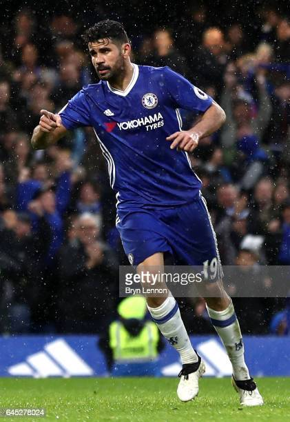 Diego Costa of Chelsea celebrates scoring his sides third goal during the Premier League match between Chelsea and Swansea City at Stamford Bridge on...