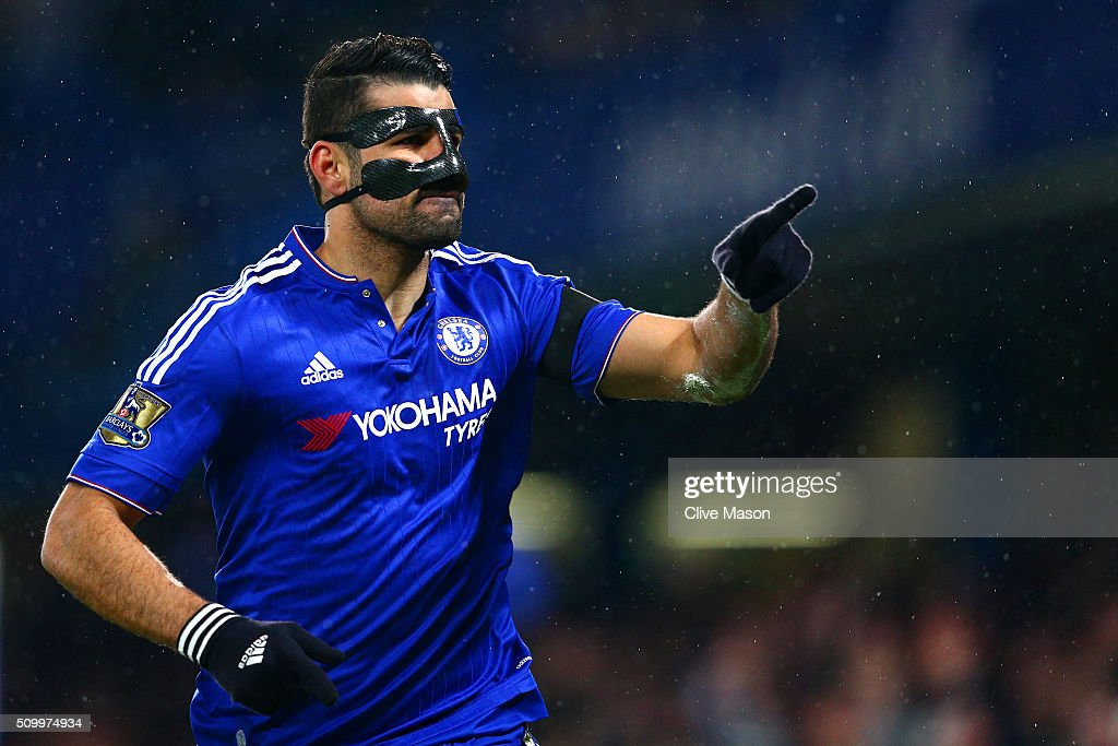 Diego Costa of Chelsea celebrates scoring his team's first goal during the Barclays Premier League match between Chelsea and Newcastle United at Stamford Bridge on February 13, 2016 in London, England.