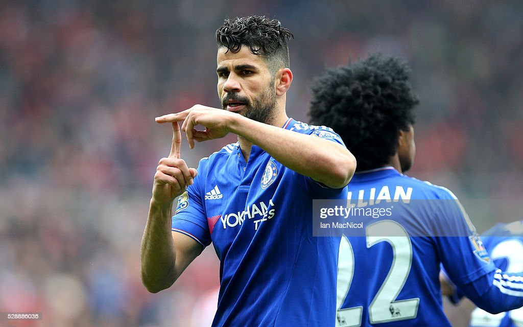 Diego Costa of Chelsea celebrates scoring his team's first goal during the Barclays Premier League match between Sunderland and Chelsea at the...