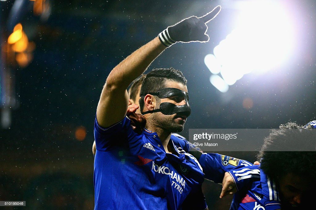 Diego Costa of Chelsea celebrates scoring his team's first goal with his team mates during the Barclays Premier League match between Chelsea and Newcastle at Stamford Bridge on February 13, 2016 in London, England.