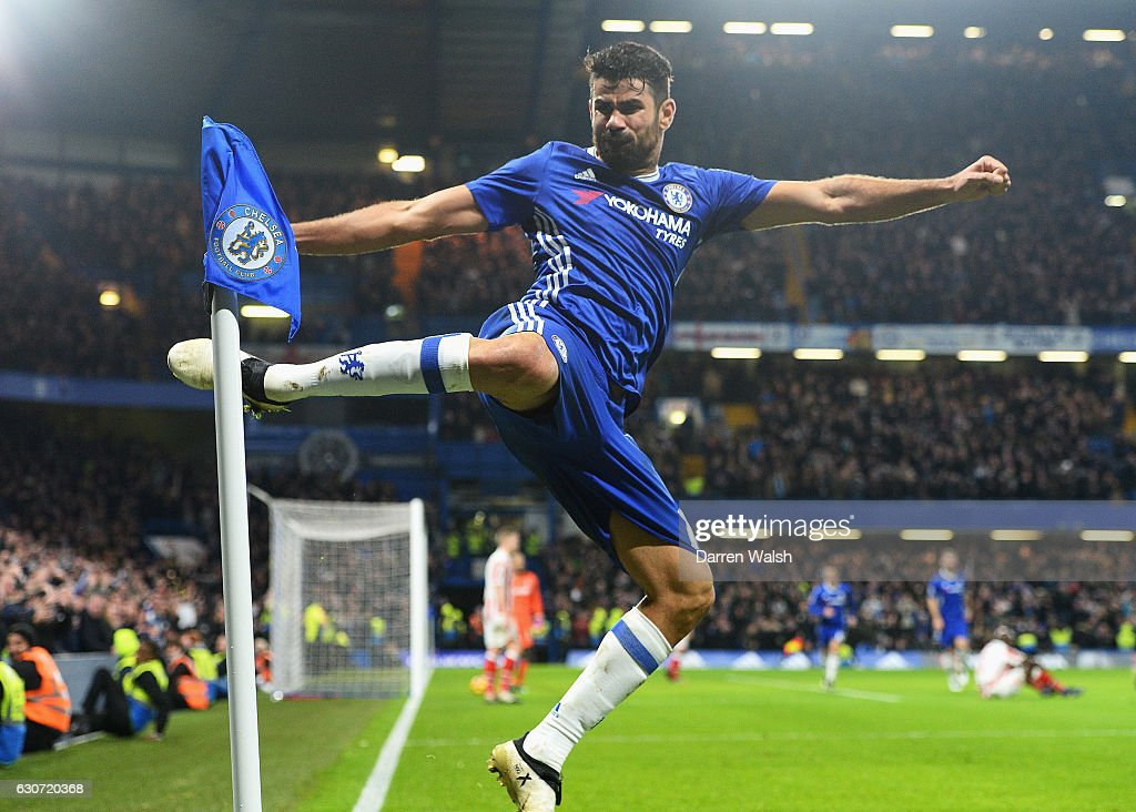 Diego Costa of Chelsea celebrates scoring his team's fourth goal during the Premier League match between Chelsea and Stoke City at Stamford Bridge on December 31, 2016 in London, England.