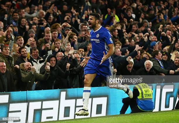 Diego Costa of Chelsea celebrates scoring his team's fourth goal during the Premier League match between Chelsea and Stoke City at Stamford Bridge on...