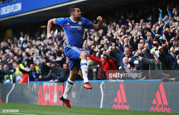 Diego Costa of Chelsea celebrates scoring the opening goal during the Premier League match between Chelsea and West Bromwich Albion at Stamford...